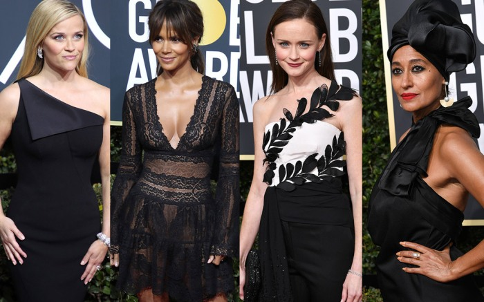 reese witherspoon, halle berry, alexis bledel, tracee ellis ross, golden globe awards 2018, red carpet, jimmy choo