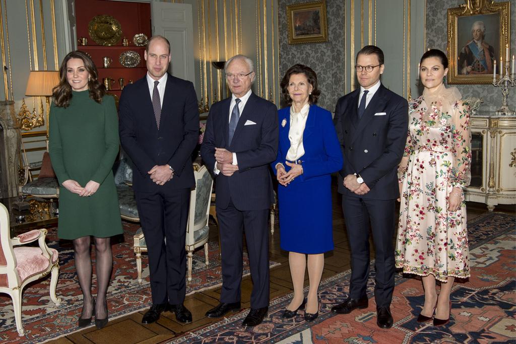 Kate Middleton, Prince William, King Carl XVI Gustaf, Queen Silvia, Prince Daniel, Crown Princess Victoria