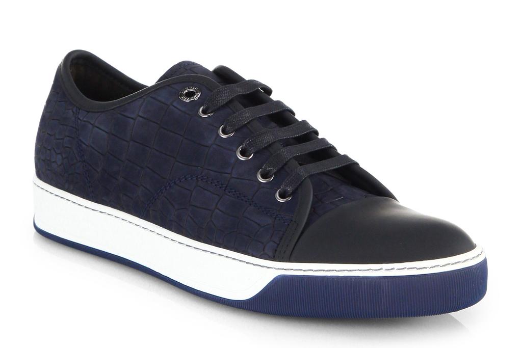 Lanvin Croc Embossed Leather Sneakers