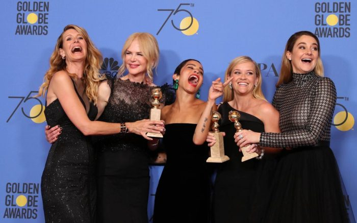 Laura Dern, Nicole Kidman, Zoe Kravitz, Reese Witherspoon and Shailene WoodleyPress Room - 75th Golden Globe Awards, Beverly Hills, USA - 07 Jan 2018(L-R) Laura Dern, Nicole Kidman, Zoe Kravitz, Reese Witherspoon and Shailene Woodley pose with the Best Television Limited Series or Motion Picture Made for Television award for 'Big Little Lies' in the press room during the 75th annual Golden Globe Awards ceremony at the Beverly Hilton Hotel in Beverly Hills, California, USA, 07 January 2018.