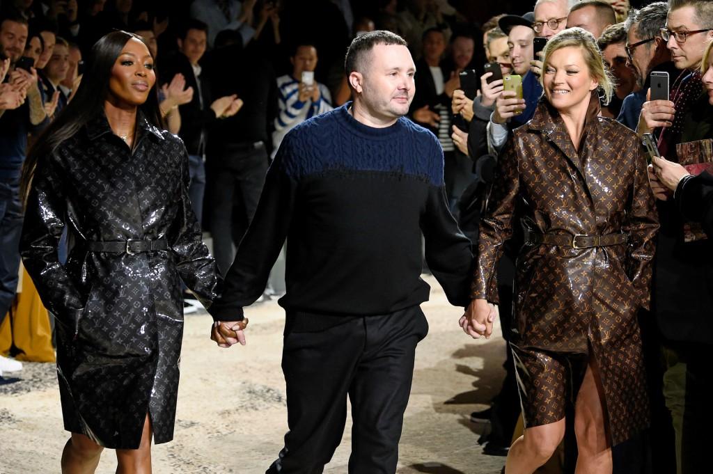 louis vuitton fall 2018, kate moss, naomi campbell, paris men's fashion week