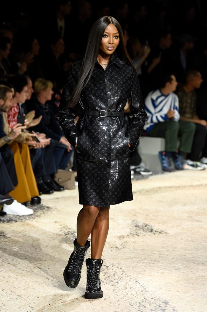 naomi campbell, paris men's fashion week, louis vuitton fall 2018