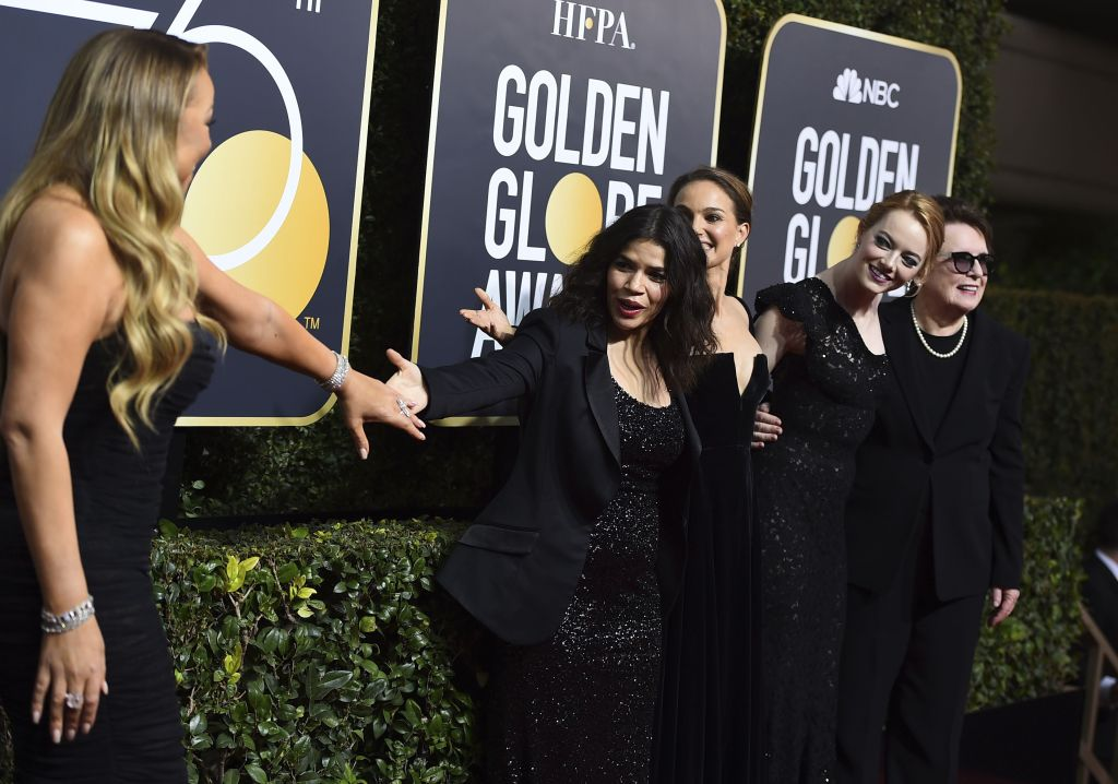 Mariah Carey, America Ferrera, Natalie Portman, Emma Stone, Billie Jean King. Mariah Carey, from left, America Ferrera, Natalie Portman, Emma Stone, and Billie Jean King arrive at the 75th annual Golden Globe Awards at the Beverly Hilton Hotel, in Beverly Hills, Calif75th Annual Golden Globe Awards - Arrivals, Beverly Hills, USA - 07 Jan 2018