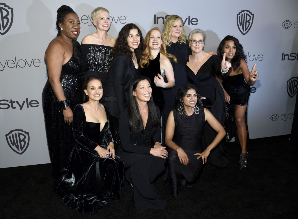 Tarana Burke, Michelle Williams, America Ferrera, Jessica Chastain, Amy Poehler, Meryl Streep, Kerry Washington, Natalie Portman, Ai-jen Poo, Saru Jayaraman. Tarana Burke, from top left, Michelle Williams, America Ferrera, Jessica Chastain, Amy Poehler, Meryl Streep, Kerry Washington, and from bottom left, Natalie Portman, Ai-jen Poo, and Saru Jayaraman arrive at the InStyle and Warner Bros. Golden Globes afterparty at the Beverly Hilton Hotel, in Beverly Hills, Calif75th Annual Golden Globe Awards - InStyle and Warner Bros. Afterparty, Beverly Hills, USA - 07 Jan 2018