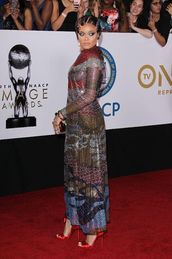 christian louboutin, andra day, naacp red carpet