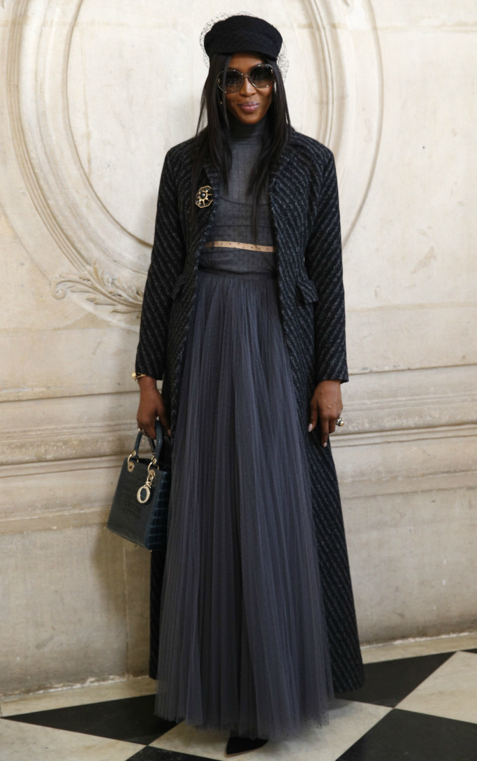 naomi campbell, front row christian dior haute couture, paris fashion week