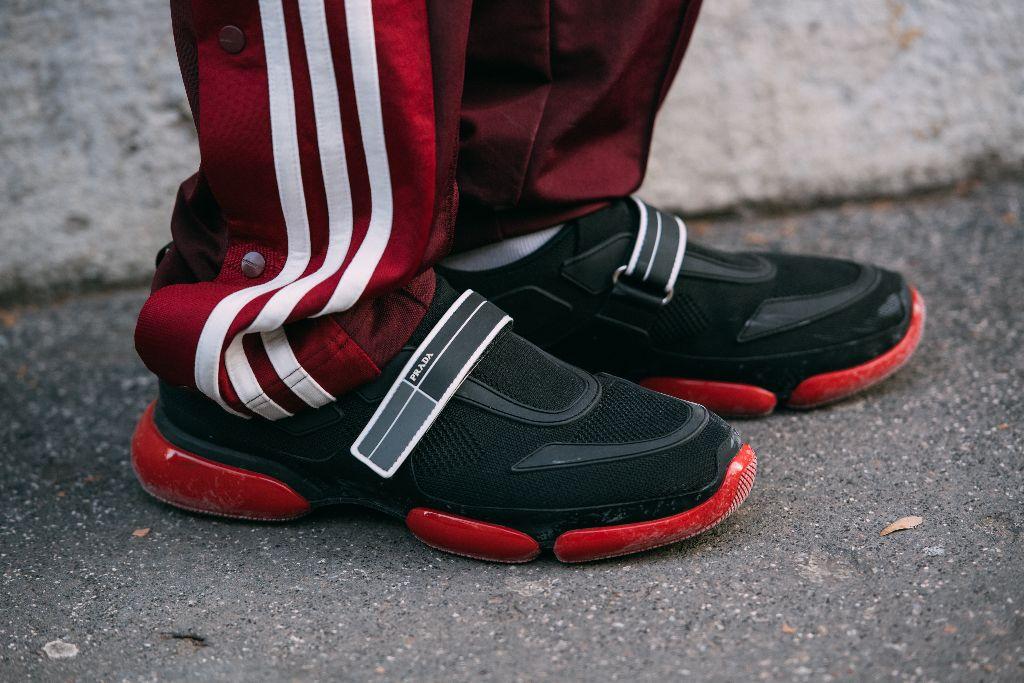 prada sneakers, milan men's fashion week street style