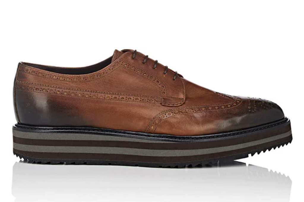 Prada Burnished Leather Platform Wingtip Bluchers