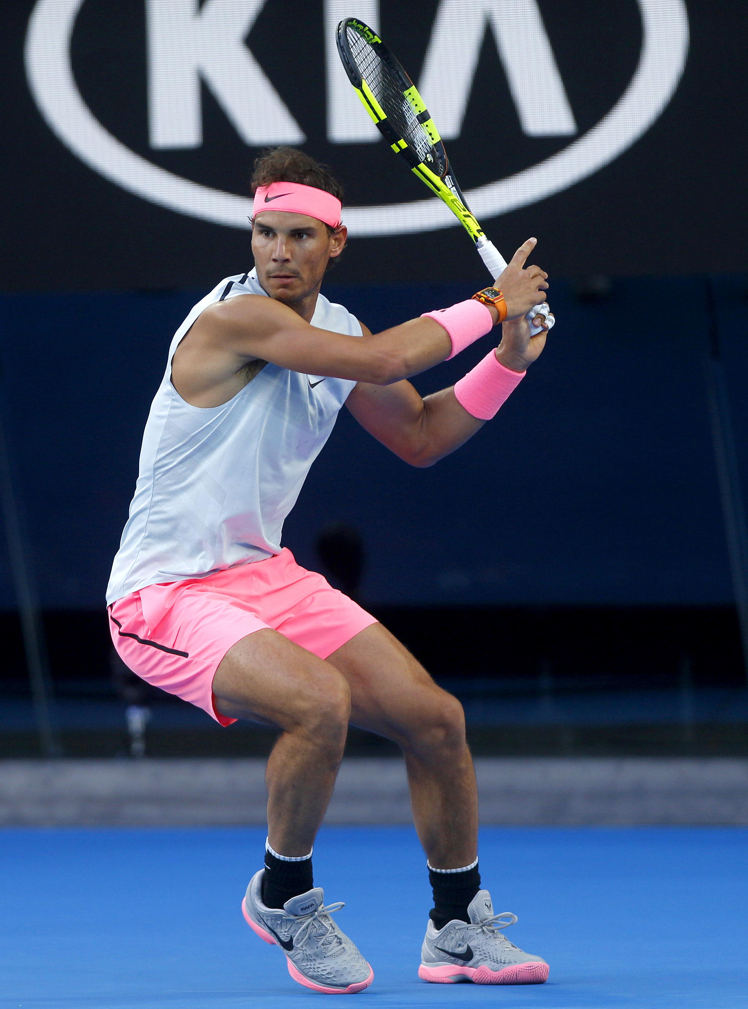 Rafael Nadal of Spain in actionAustralian Open, Melbourne Park, Melbourne, Australia - 15 Jan 2018