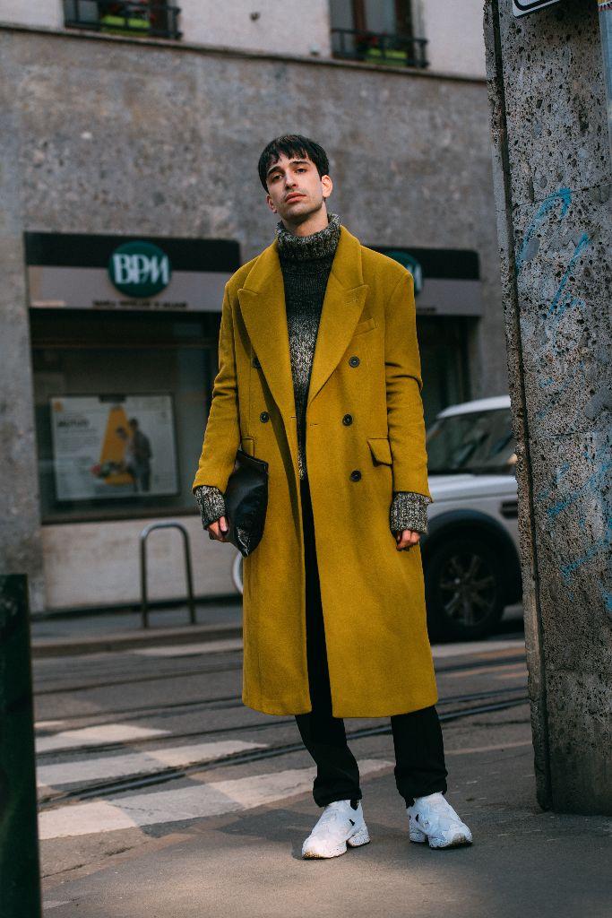 reebok sneakers, milan men's fashion week street style