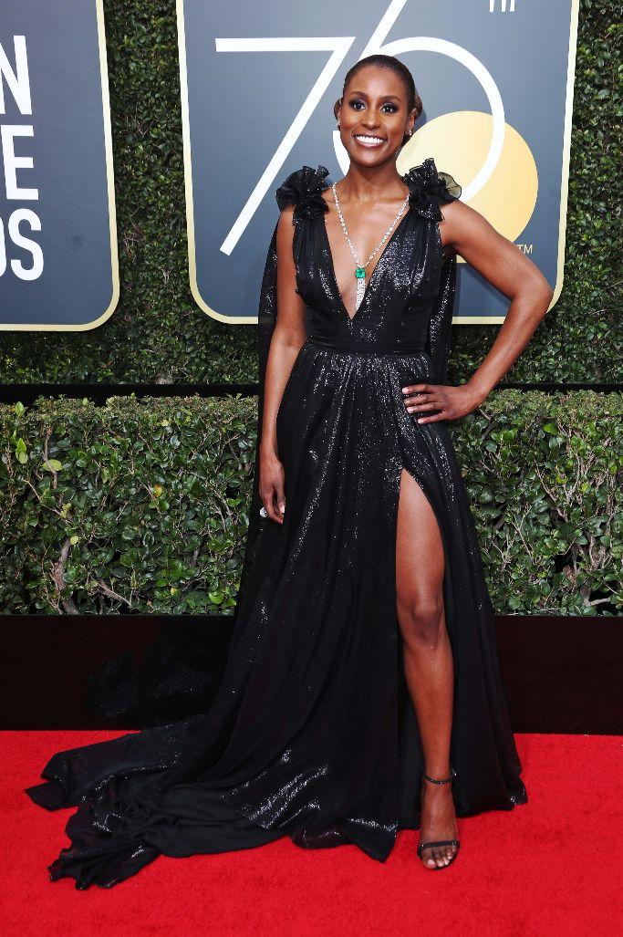 issa rae, 2018 golden globes, sandals, red carpet