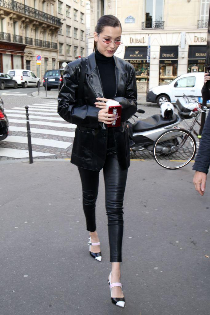 Bella Hadid wears black and white slingback heels in Paris.
