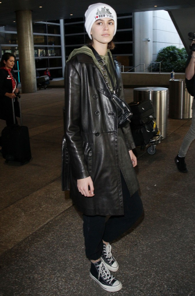 Kaia Gerber at LAX International Airport.