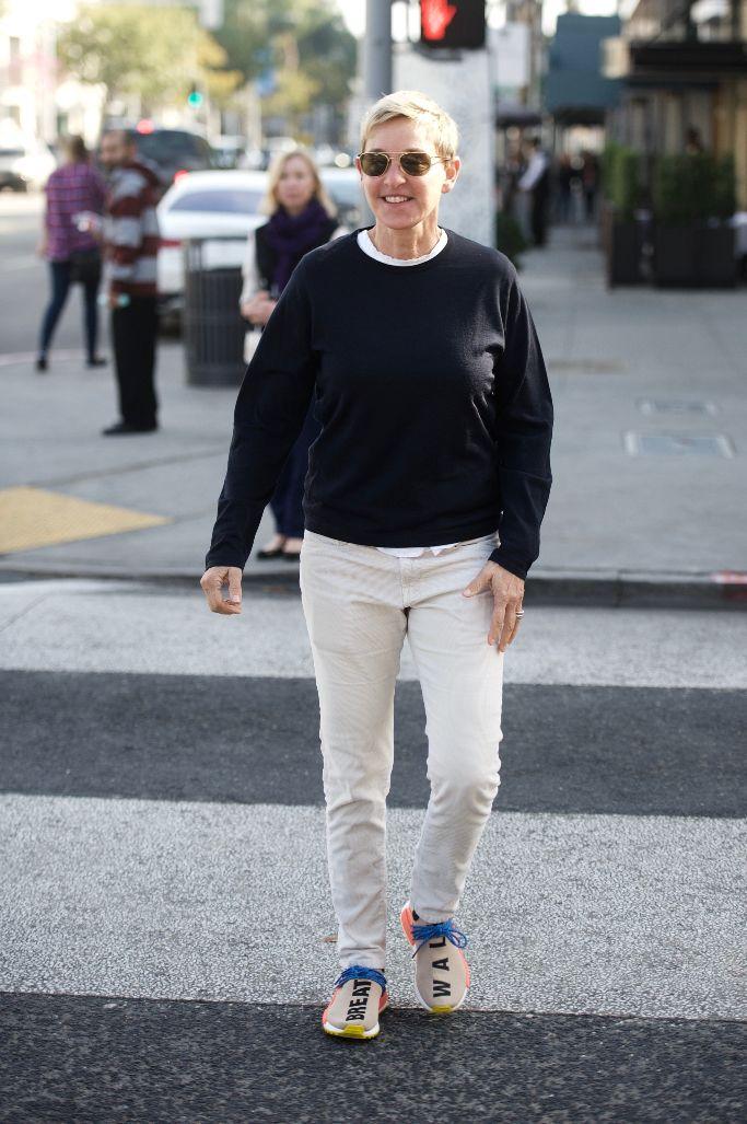 ellen degeneres, pharrell adidas nmd hu trail sneaker