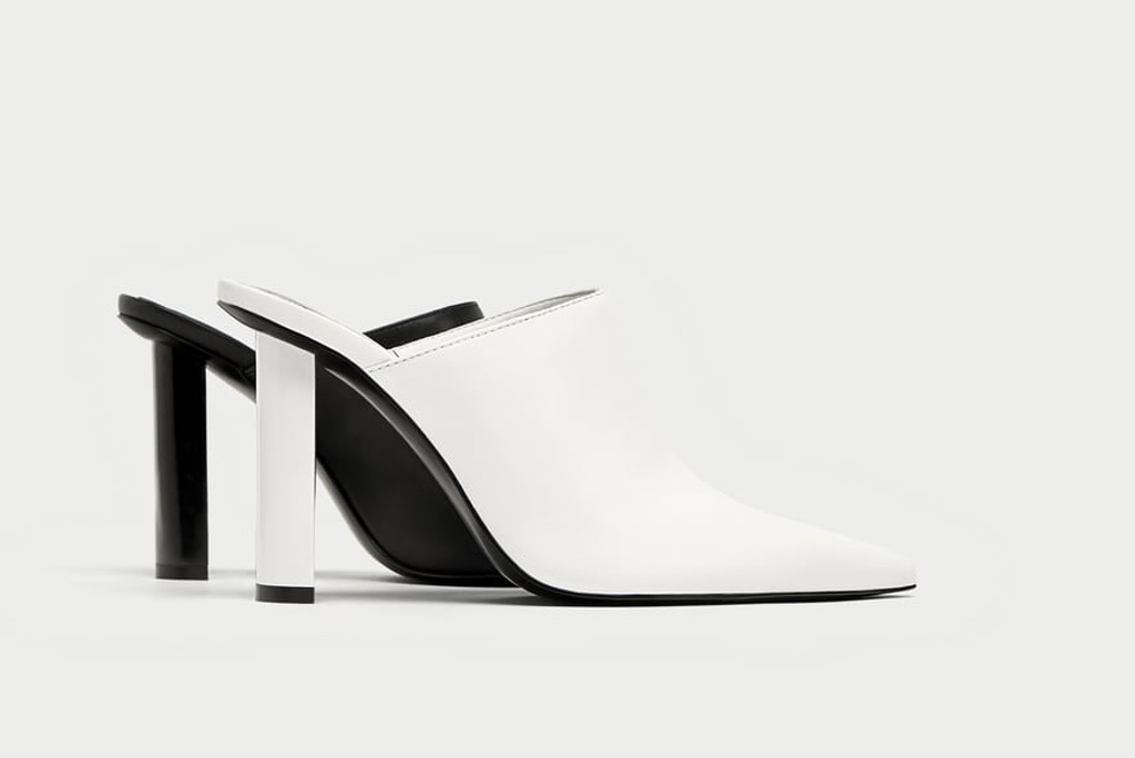 Zara Two-Toned Geometric Mules