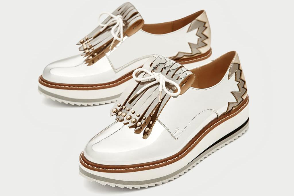 Zara Silver Platform Brogues With Fringe