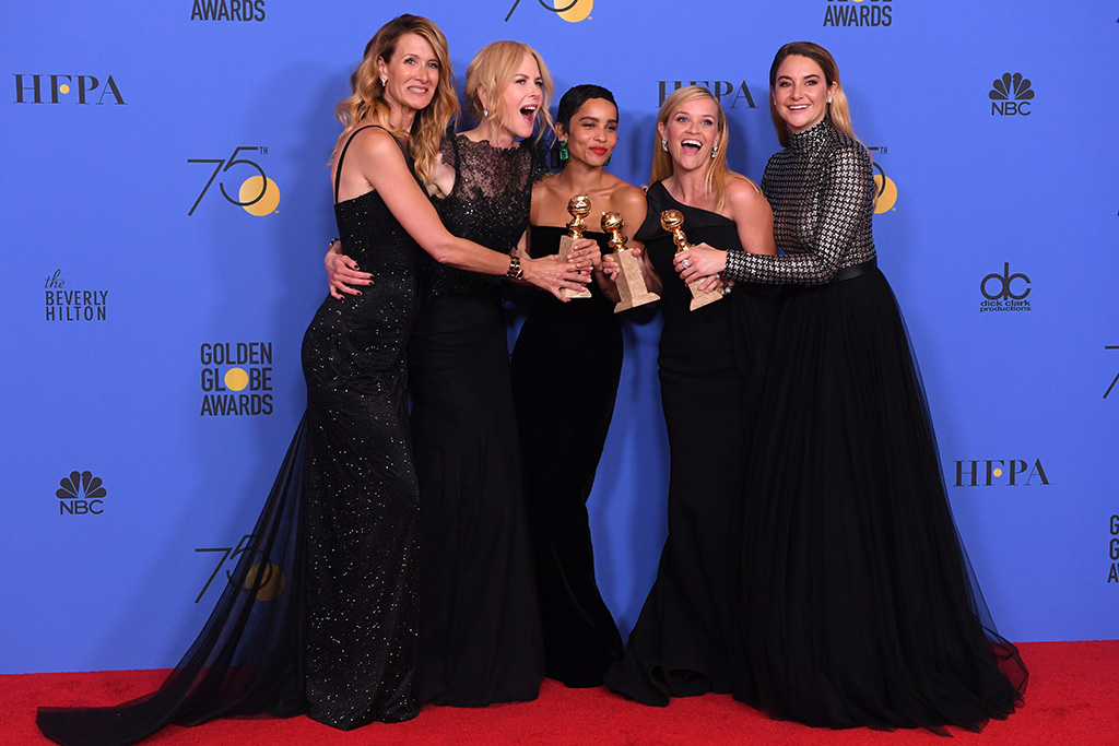 75th annual golden globe awards, big little lies cast, Laura Dern, Nicole Kidman, Zoe Kravitz, Reese Witherspoon, Shailene Woodley