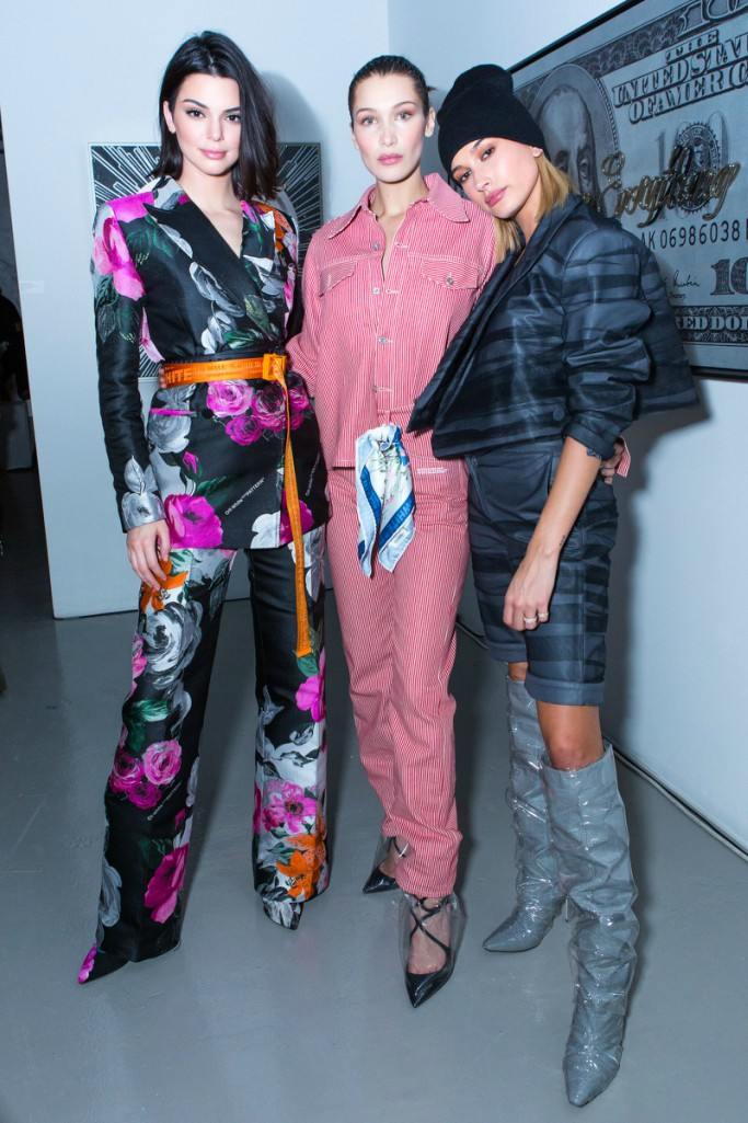 Kendall Jenner, Bella Hadid and Hailey Baldwin, new york fashion week, jimmy choo x off-white collection dinner