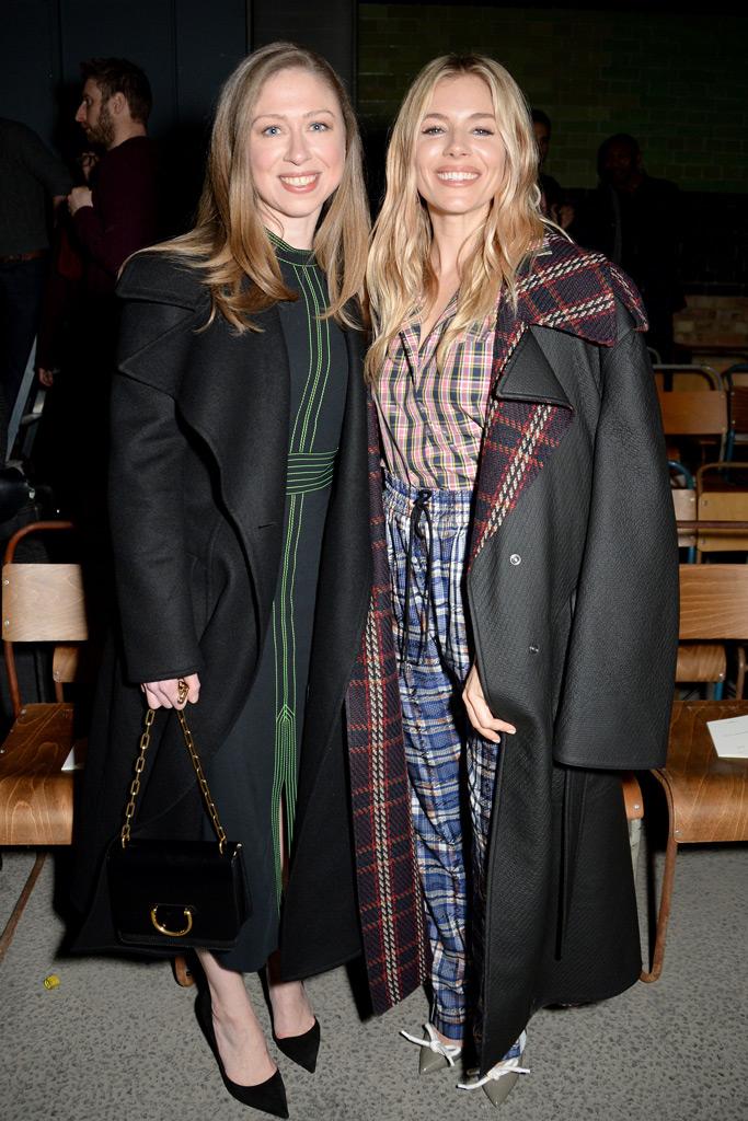 Chelsea Clinton Sienna Miller London Fashion Week F/W '18