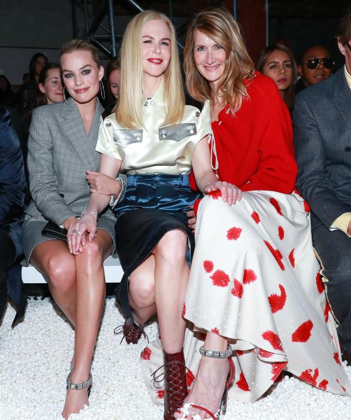 calvin klein front row, new york fashion week, margot robbie, nicole kidman, laura dern