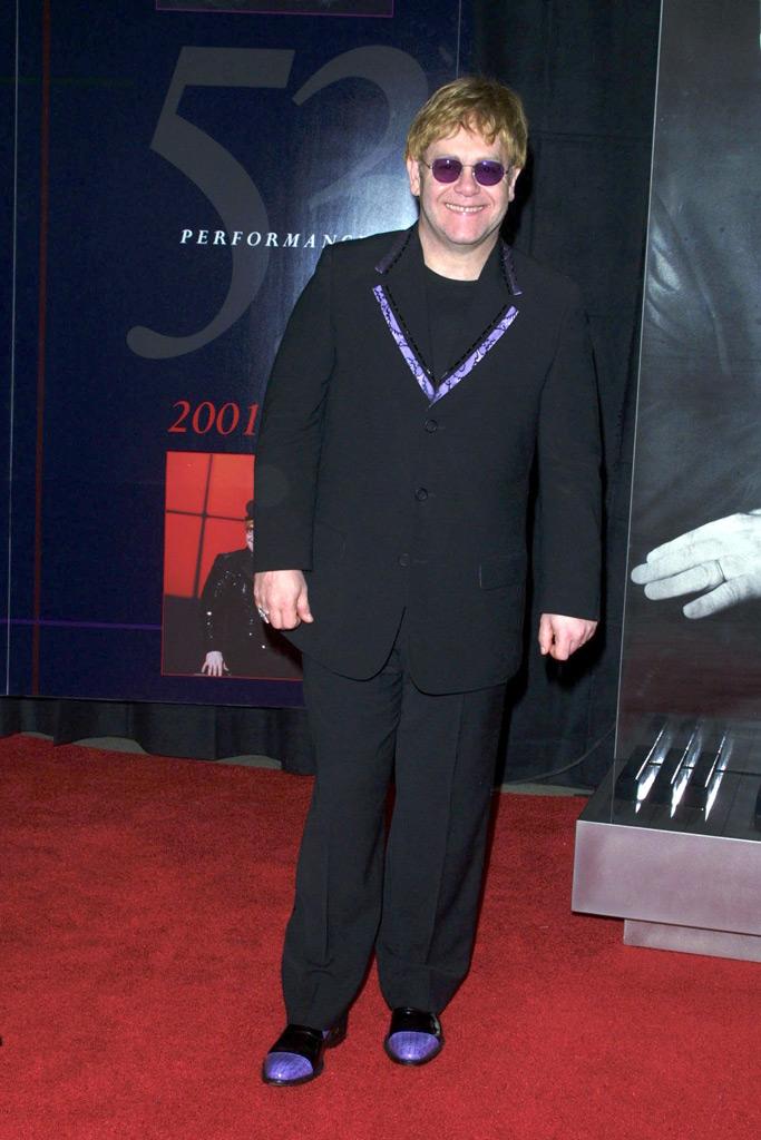 Elton John, suit, purple shoes