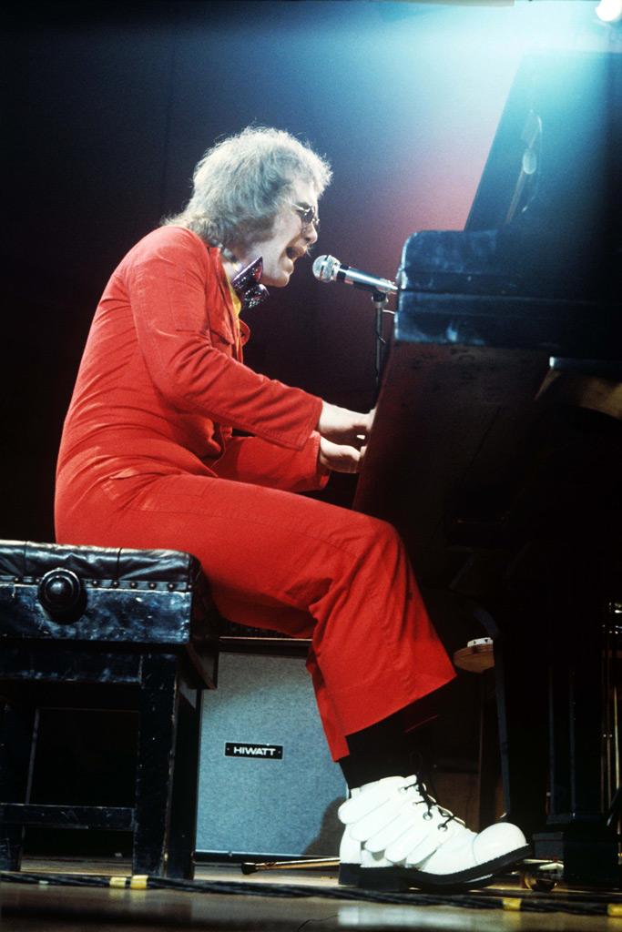 Elton John, white shoes, aquarius, wardrobe, costume