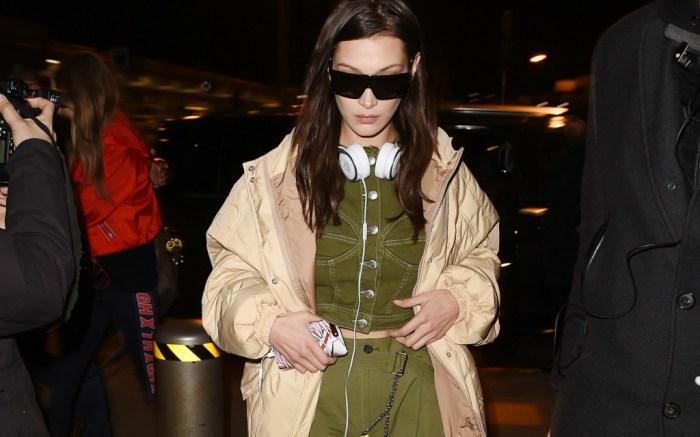 Bella Hadid rocks a military green look in Milan for fashion week.