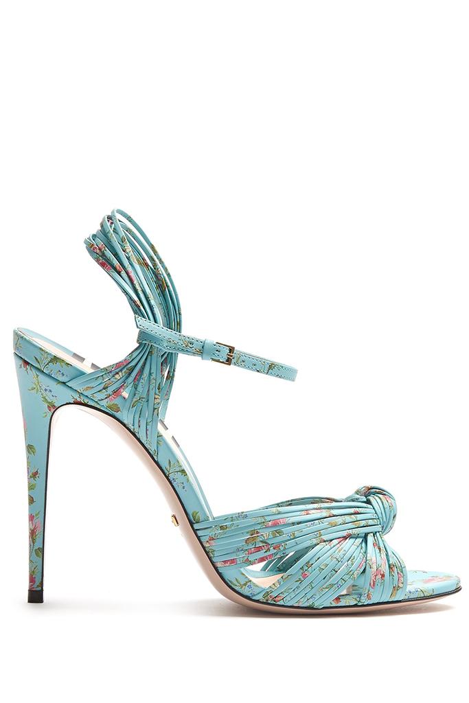 gucci allie leather sandal, floral print