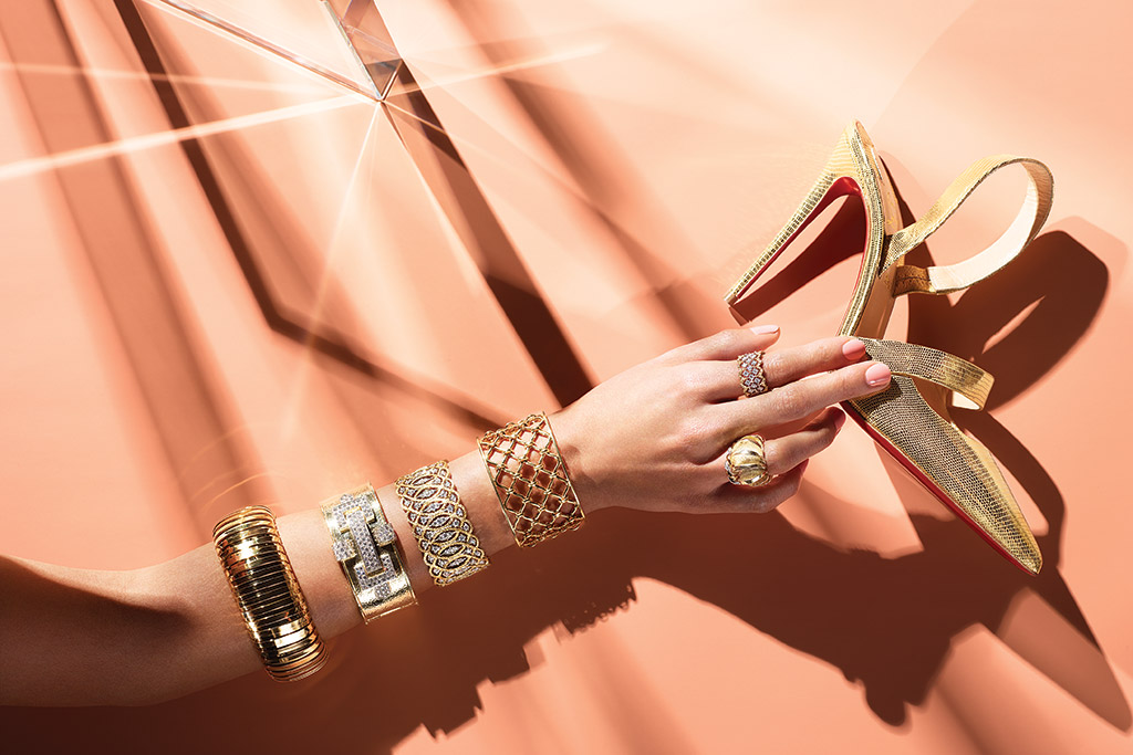jewelry shoes christian louboutin gold pump buccellati verdura jewelry