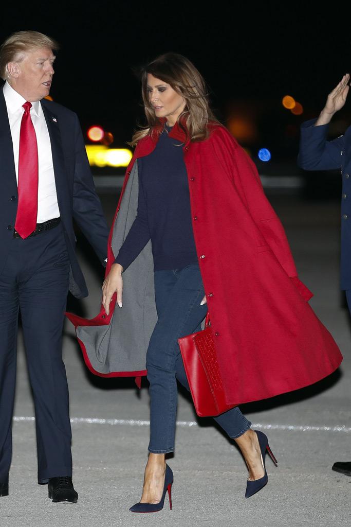 Melania Trump, donald trump, louboutin, red coat