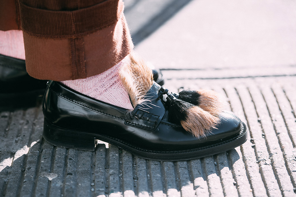 NYFW Men's street style, prada loafers with tassels