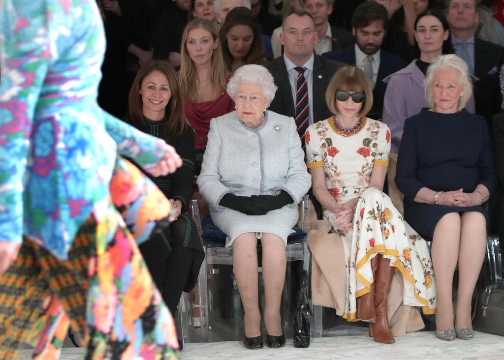 Queen Elizabeth Anna Wintour london fashion week fall 2018 richard quinn