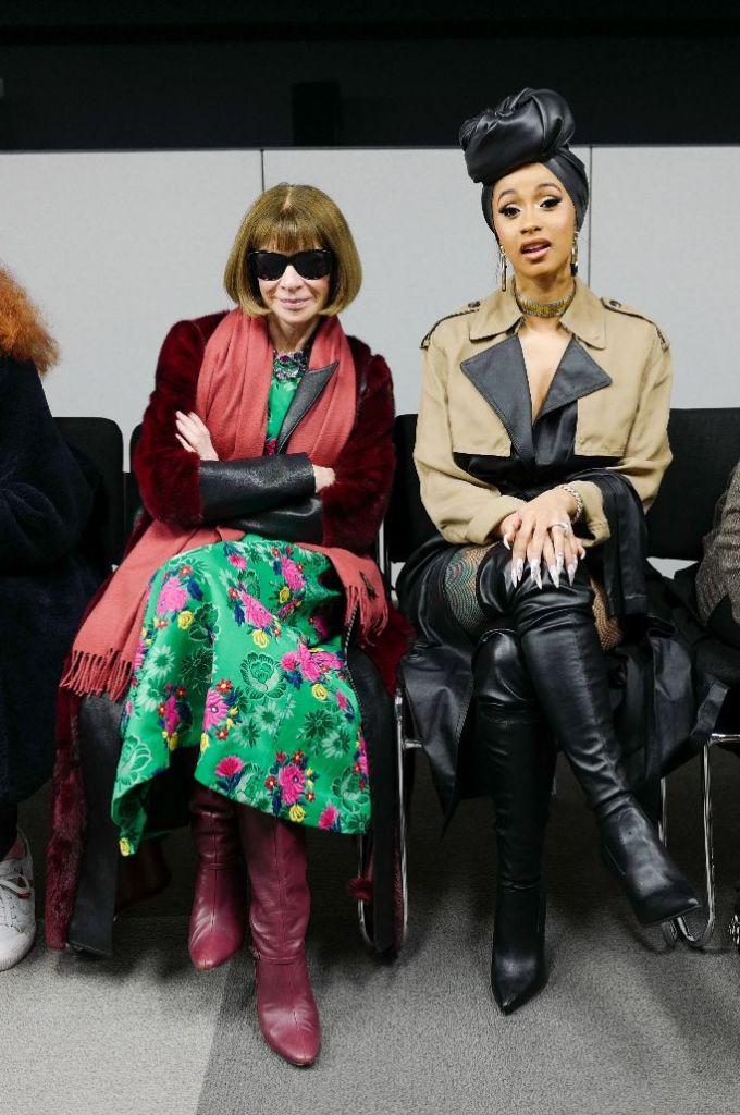 cardi b, anna wintour, alexander wang, new york fashion week, front row