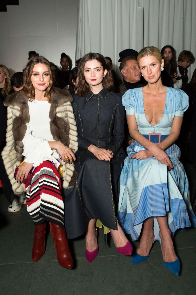 nicky hilton, olivia palermo, emily robinson, front row, carolina herrera fall 2018 show, new york fashion week