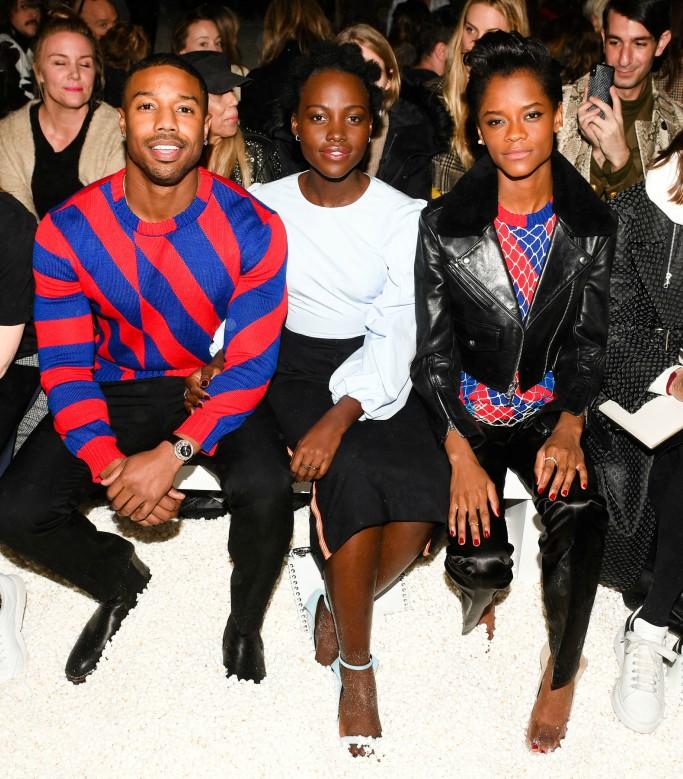 calvin klein front row, Michael B. Jordan, Lupita Nyong'o, Letitia Wright, new york fashion week