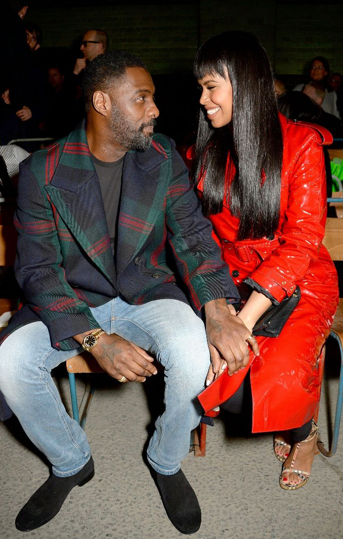 Idris Elba and Sabrina Dhowre, london fashion week, burberry