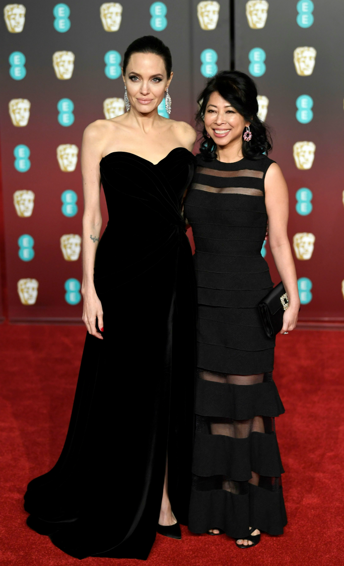 Angelina Jolie and Loung Ung, 2018 baftas