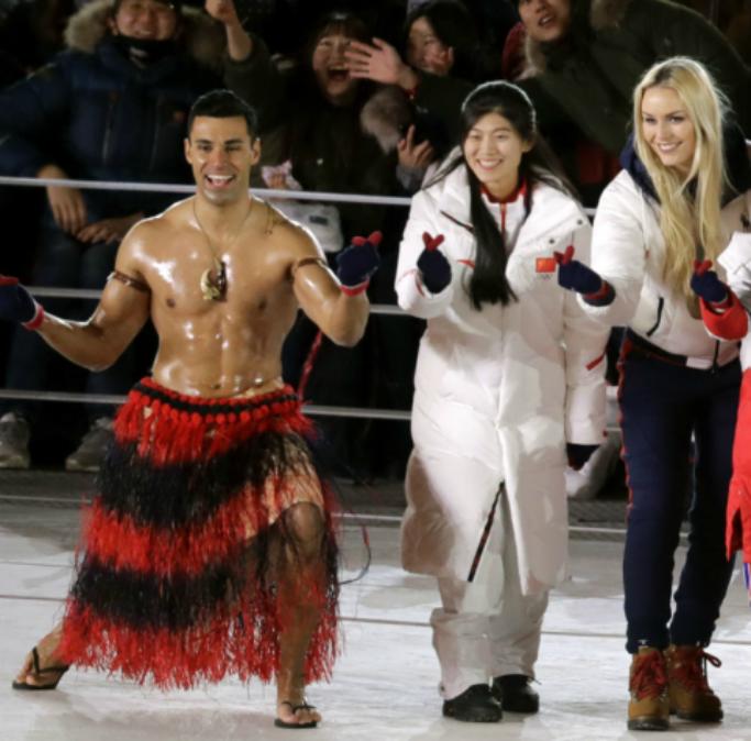 2018 olympics closing ceremony, lindsey vonn, Shirtless Tongan Flag Bearer