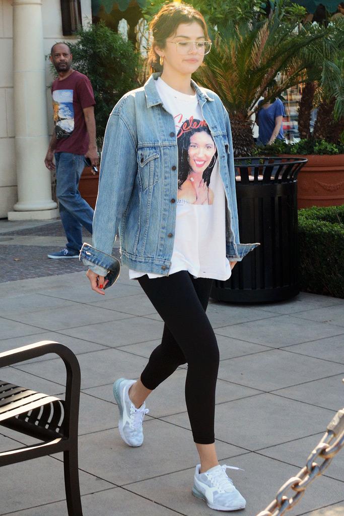 Selena Gomez in Selena Shirt \u0026 Pumas