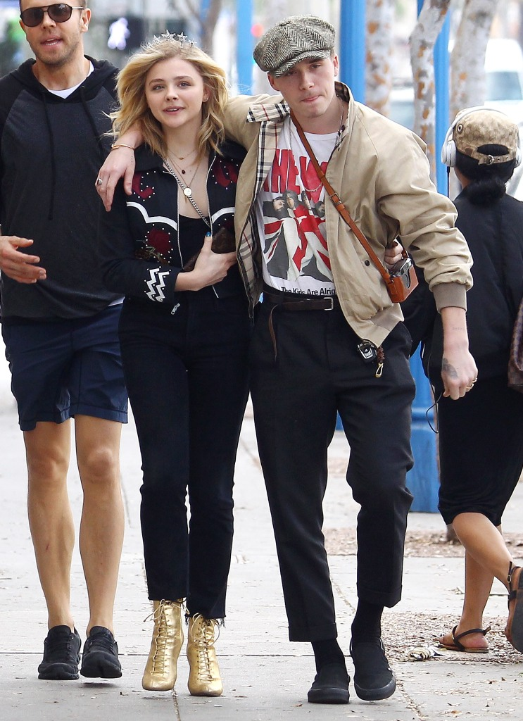 Brooklyn Beckham takes his girlfriend Chloë Grace Moretz to celebrate her 21st birthday at Hamburger Mary's Bar and Grill.