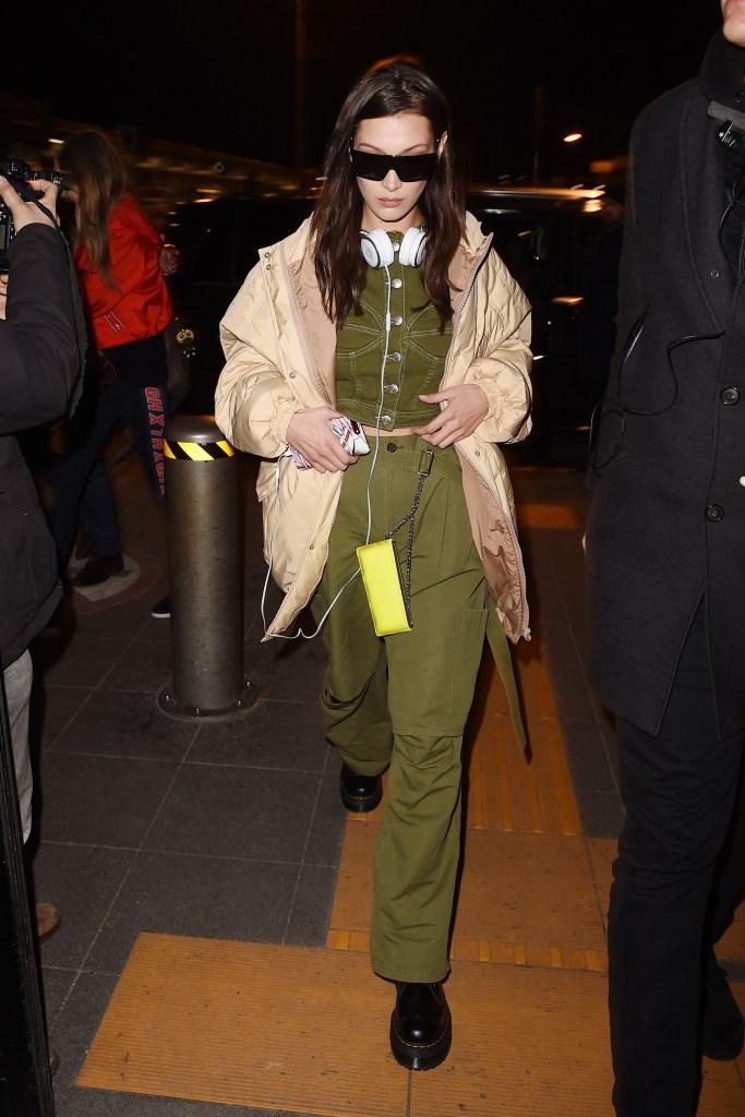 Bella Hadid seen leaving Milan Fashion Week.