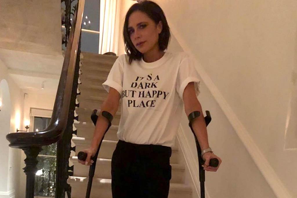 Victoria Beckham crutches instagram