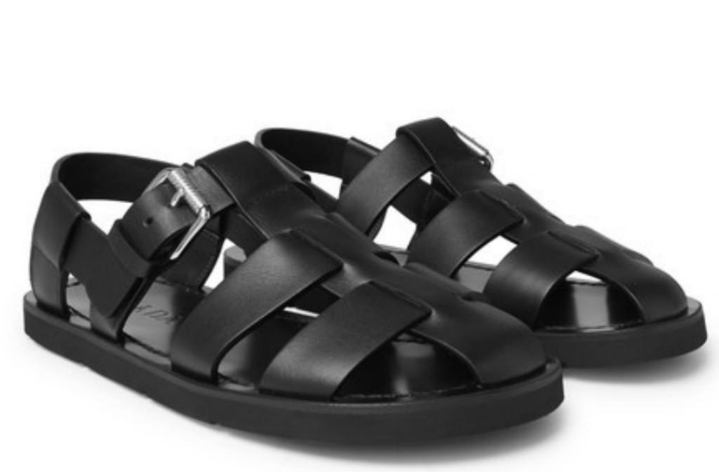 prada men's leather sandals