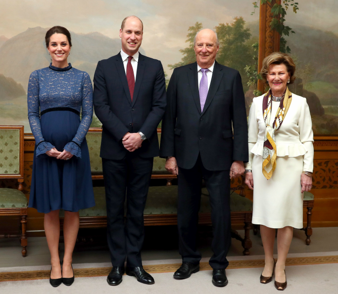 kate middleton, Prince William, King Harald and Queen Sonja