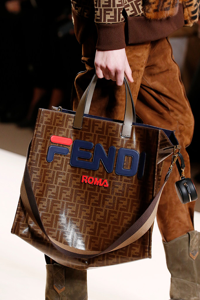 fendi fall 2018, milan fashion week, fila, logo trend