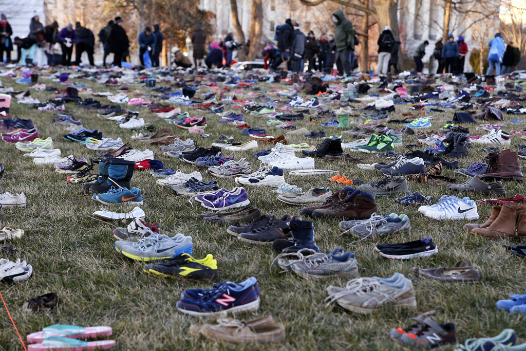 Shoes on the Capitol lawn