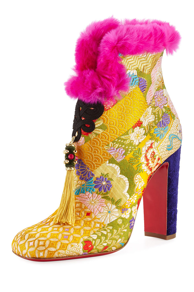 colorful spring shoes, spring equinox, christian louboutin may wong booties