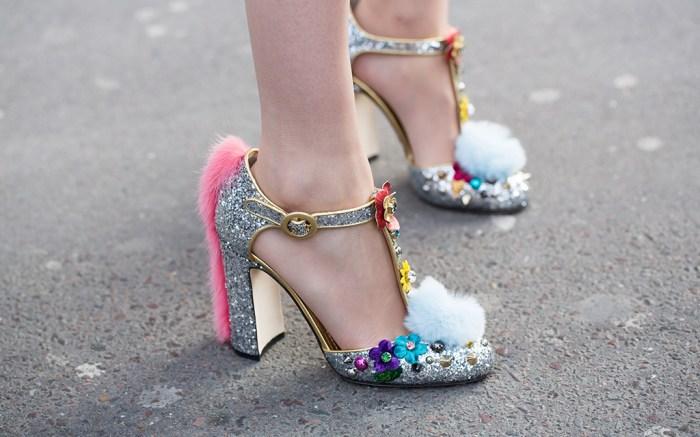 paris fashion week, fall 2017, street style, shoes, glittery heels