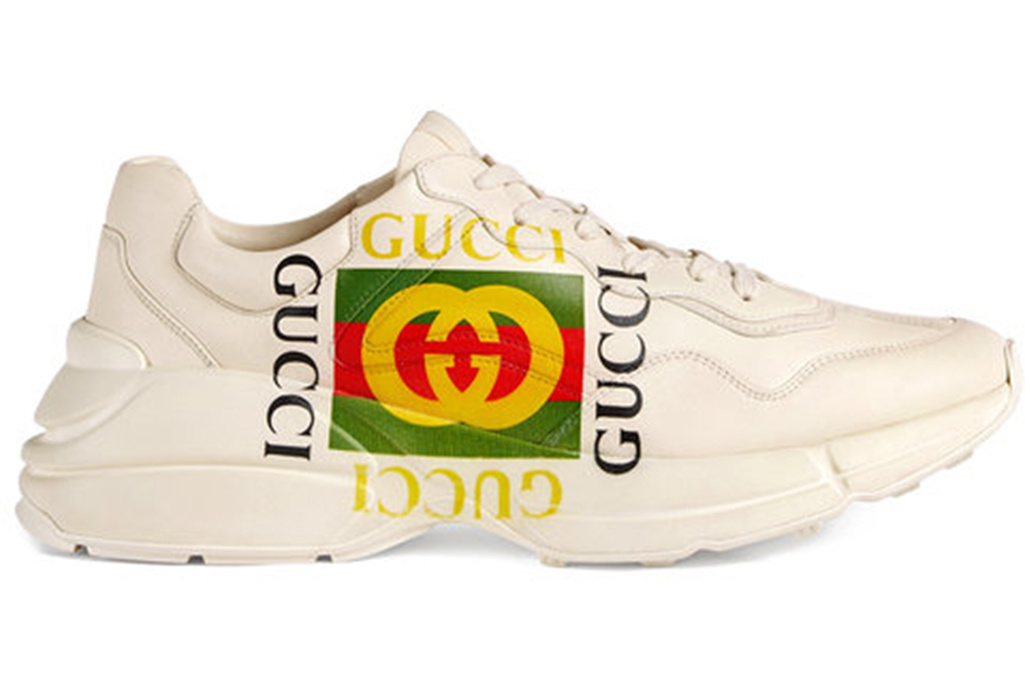 dad shoe trend, gucci rhyton logo sneakers