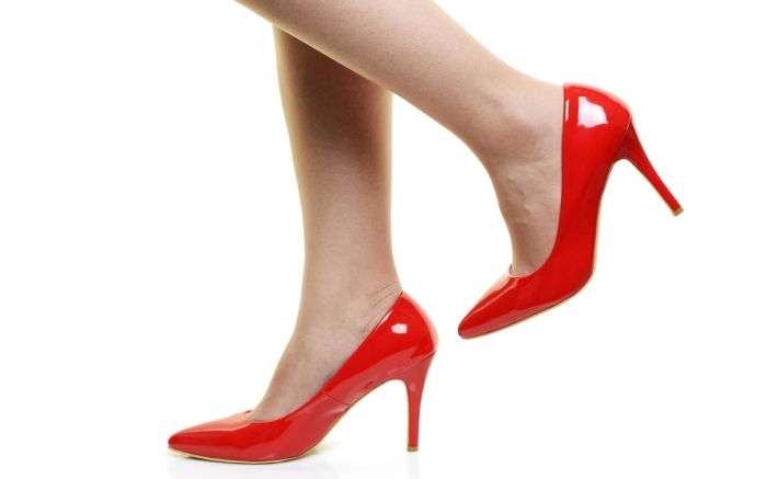 Red stiletto pumps